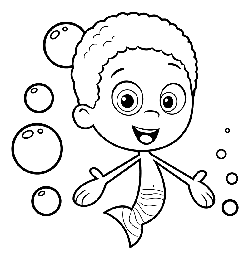 Раскраска - Гуппи и пузырики - Гоби - мальчик-гуппи