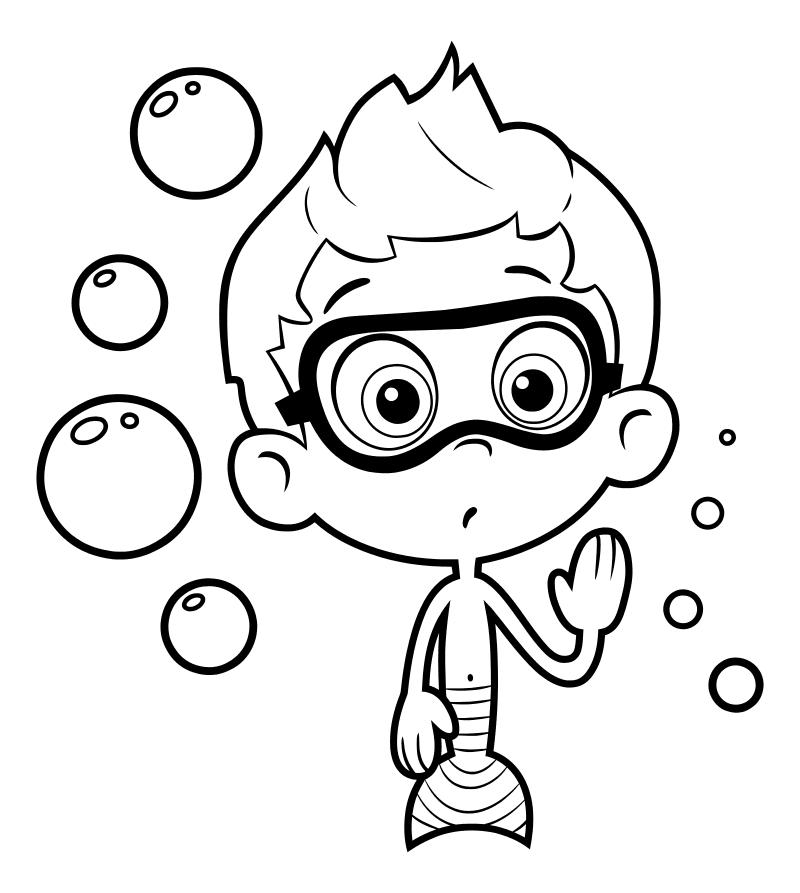 Раскраска - Гуппи и пузырики - Нони - мальчик-гуппи