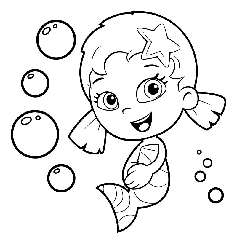 Раскраска - Гуппи и пузырики - Уна - девочка-гуппи