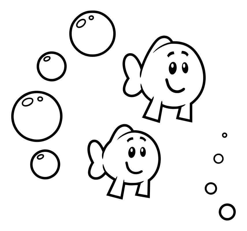 Раскраска - Гуппи и пузырики - Маленькие рыбки
