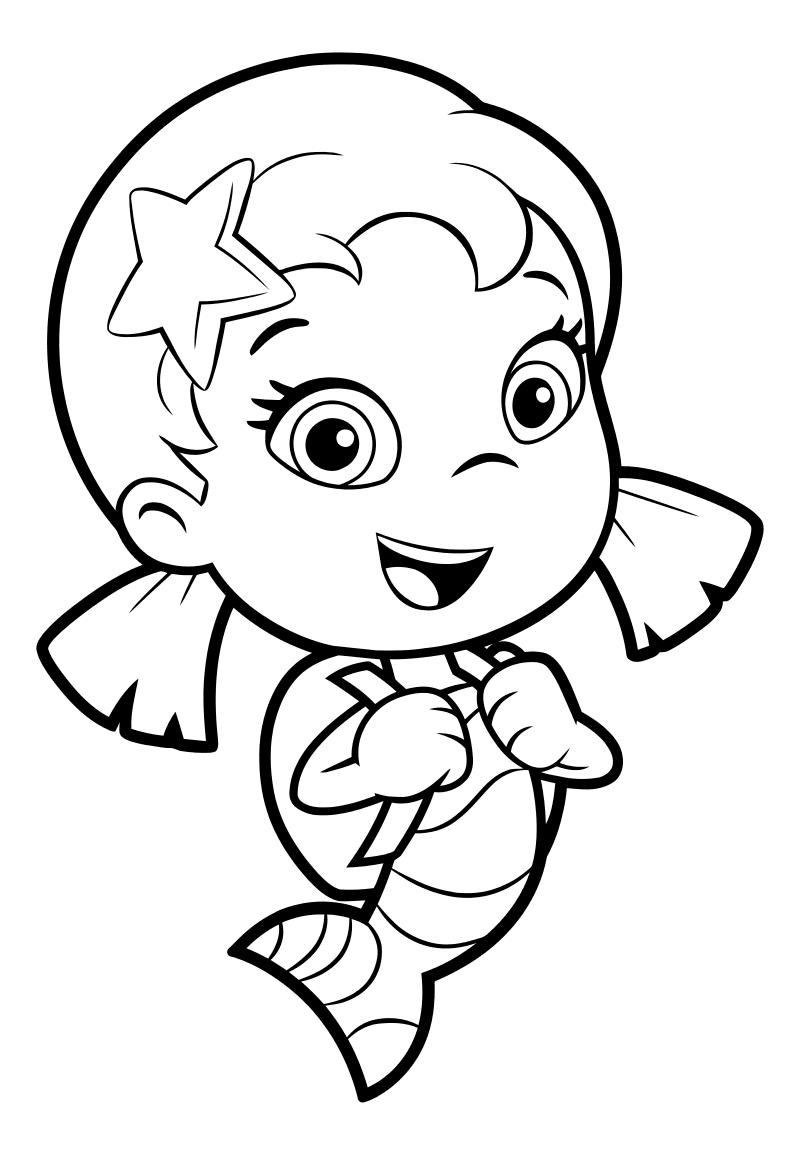Раскраска - Гуппи и пузырики - Уна со школьным ранцем