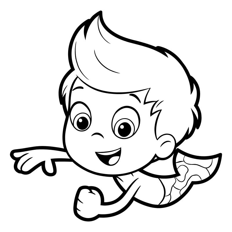 Раскраска - Гуппи и пузырики - Гуппи-мальчик Гил
