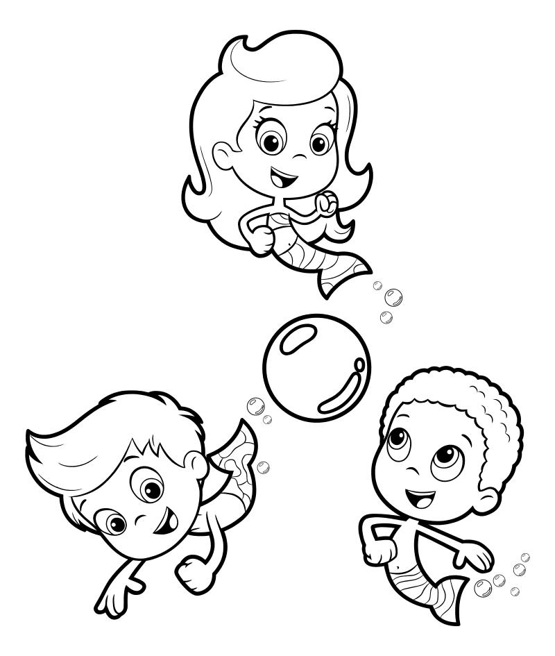 Раскраска - Гуппи и пузырики - Молли, Гил и Гоби играют в пузырьбол