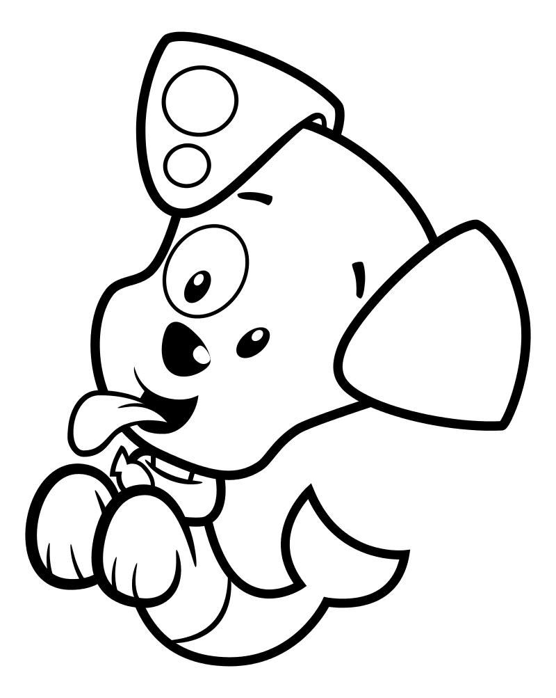 Раскраска - Гуппи и пузырики - Озорной щенок Пузырёк
