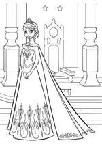 Раскраска - Холодное сердце - Эльза в тронном зале