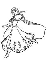 Раскраска - Холодное сердце - Анна в прыжке