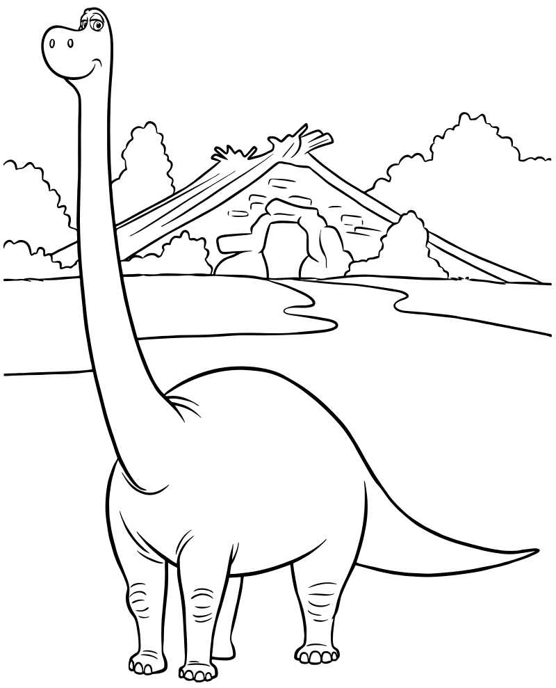 Раскраска - Хороший динозавр - Апатозавр Ида мама Арло