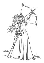 Раскраска - Храбрая сердцем - Принцесса Мерида стреляет из лука