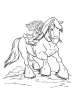 Раскраска - Храбрая сердцем - Принцесса Мерида скачет на Ангусе