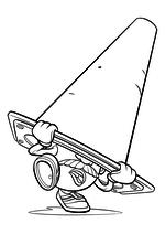 Раскраска - История игрушек - Мистер Картофельная голова под дорожным конусом