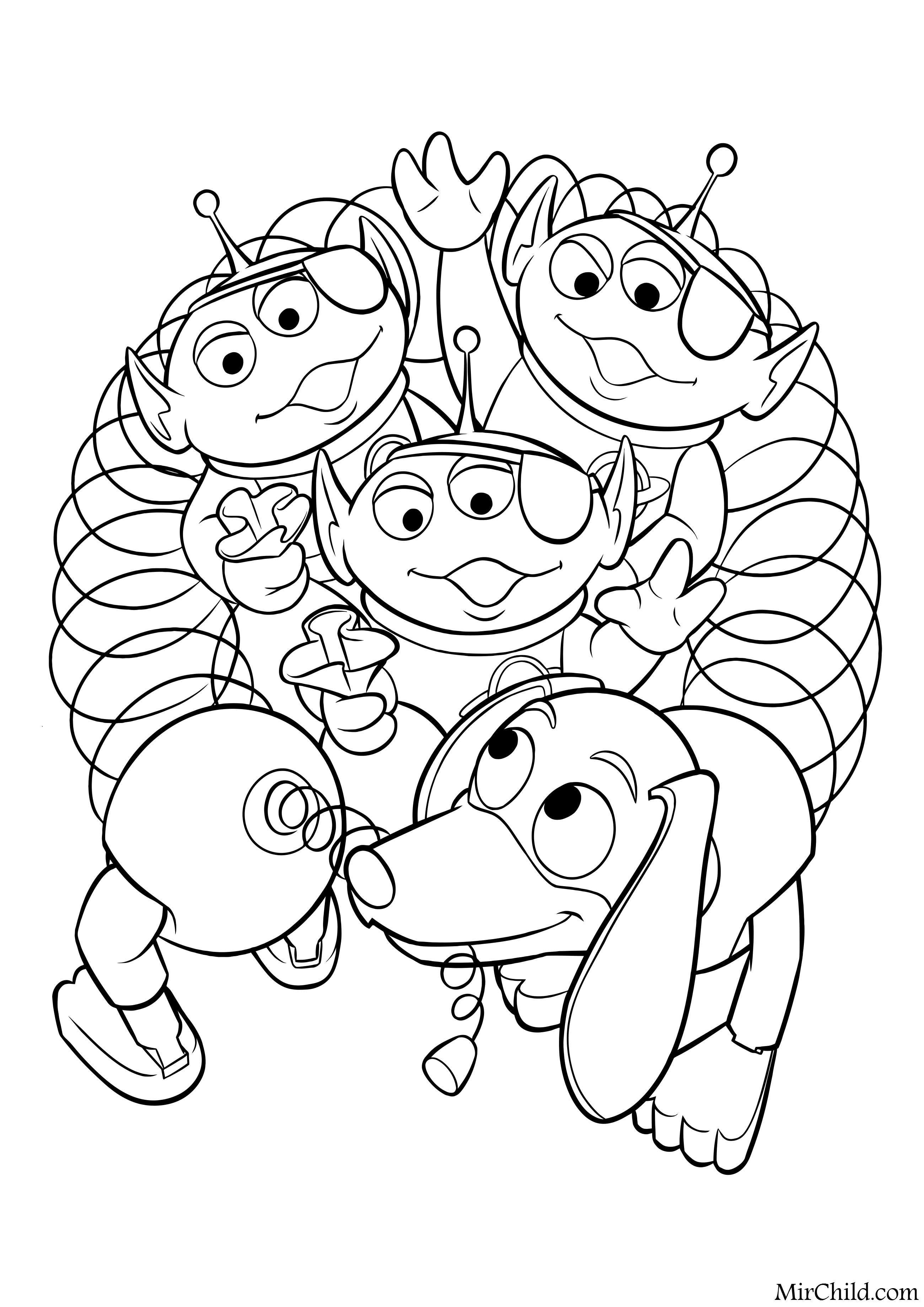 Раскраска - История игрушек - Инопланетяне и Спиралька ...