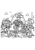Раскраска - История игрушек - Базз Лайтер, Вуди и Джесси