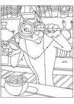 Раскраска Волк рассматривает пирожок