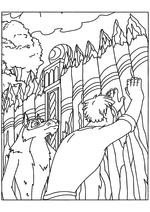 Раскраска - Иван Царевич и Серый волк - Иван с Котом чинят забор