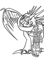 Раскраска - Как приручить дракона 2 - Астрид обнимает Громгильду