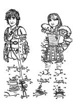 Раскраска - Как приручить дракона 2 - Иккинг и Астрид - по точкам