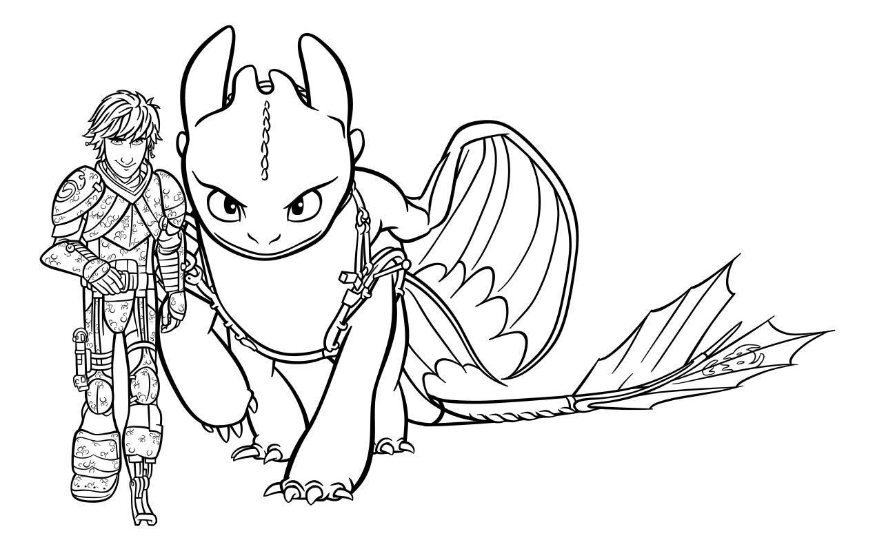 Раскраска - Как приручить дракона 3 - Иккинг и Беззубик