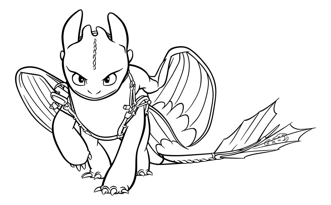 Раскраска - Как приручить дракона 3 - Беззубик