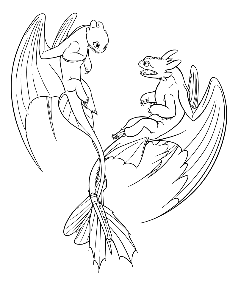 Раскраска - Как приручить дракона 3 - Дневная Фурия и Беззубик