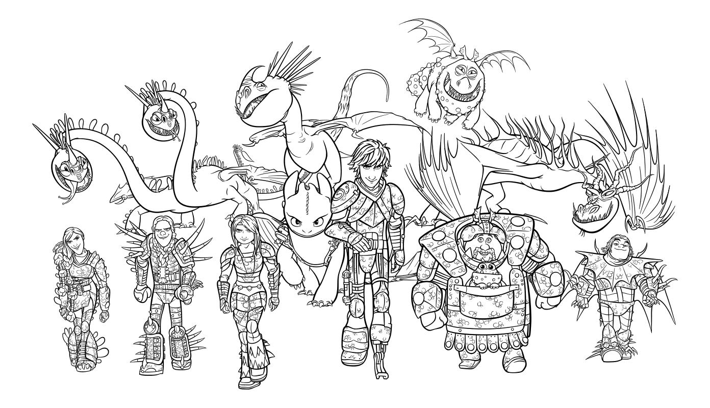 Раскраска - Как приручить дракона 3 - Дружная команда Олуха