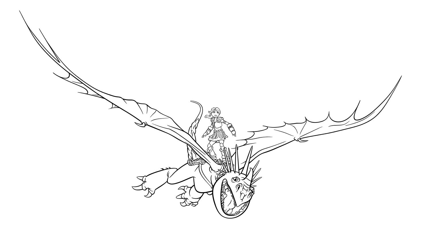 Раскраска - Как приручить дракона 3 - Астрид летит на Громгильде