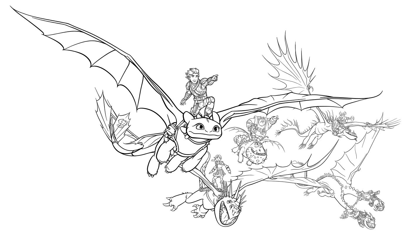 Раскраска - Как приручить дракона 3 - Иккинг, Астрид, Рыбьеног, Сморкала, Забияка и Задирака летят на драконах