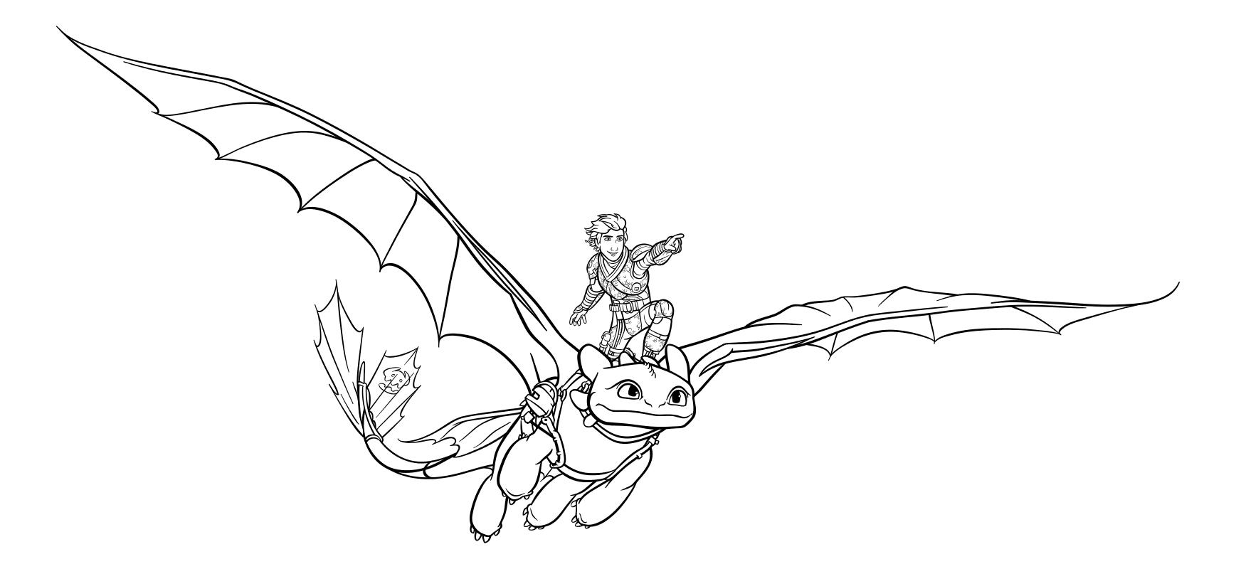Раскраска - Как приручить дракона 3 - Иккинг летит на Беззубике