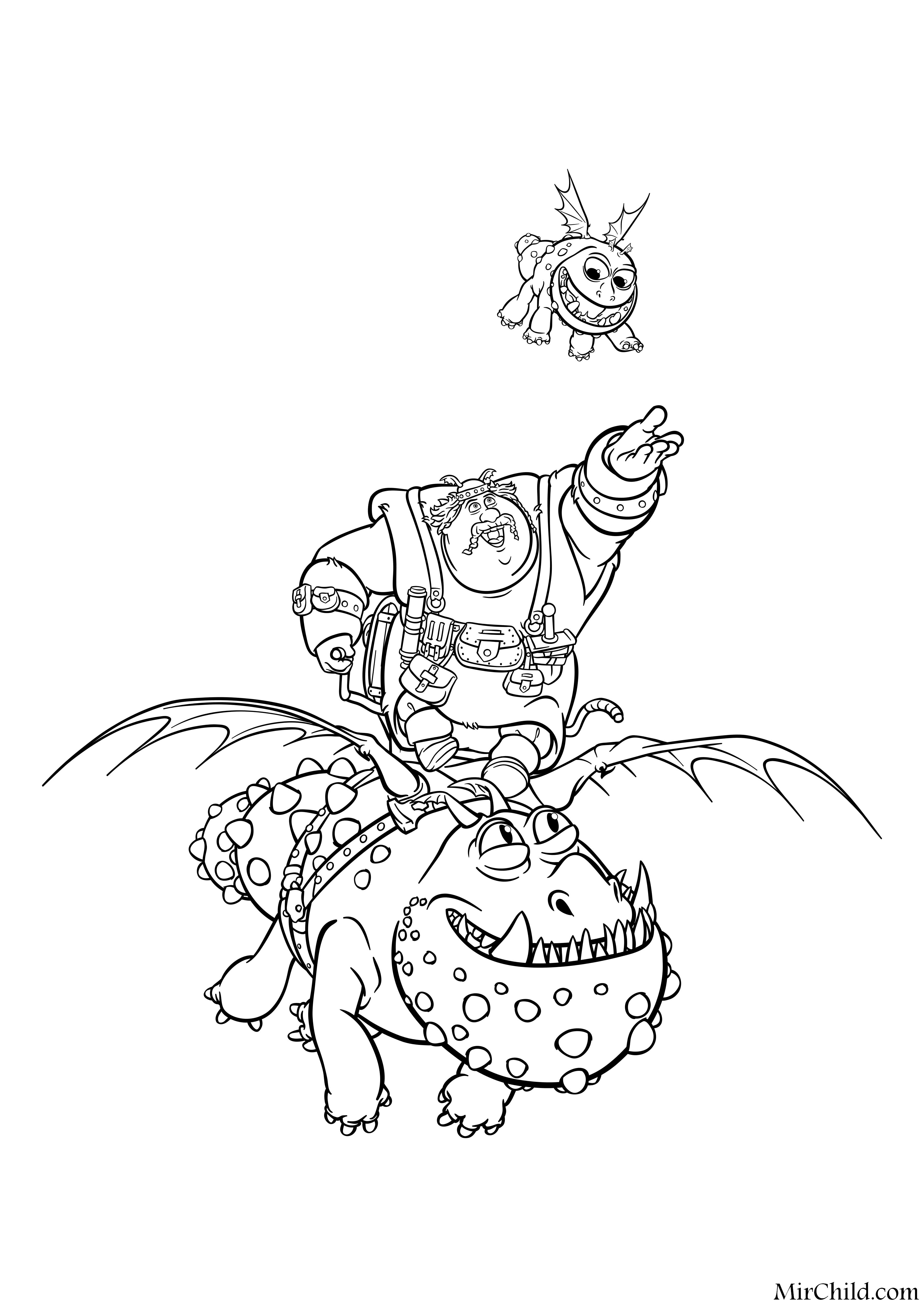 Раскраска - Как приручить дракона 3 - Рыбьеног летит на ...