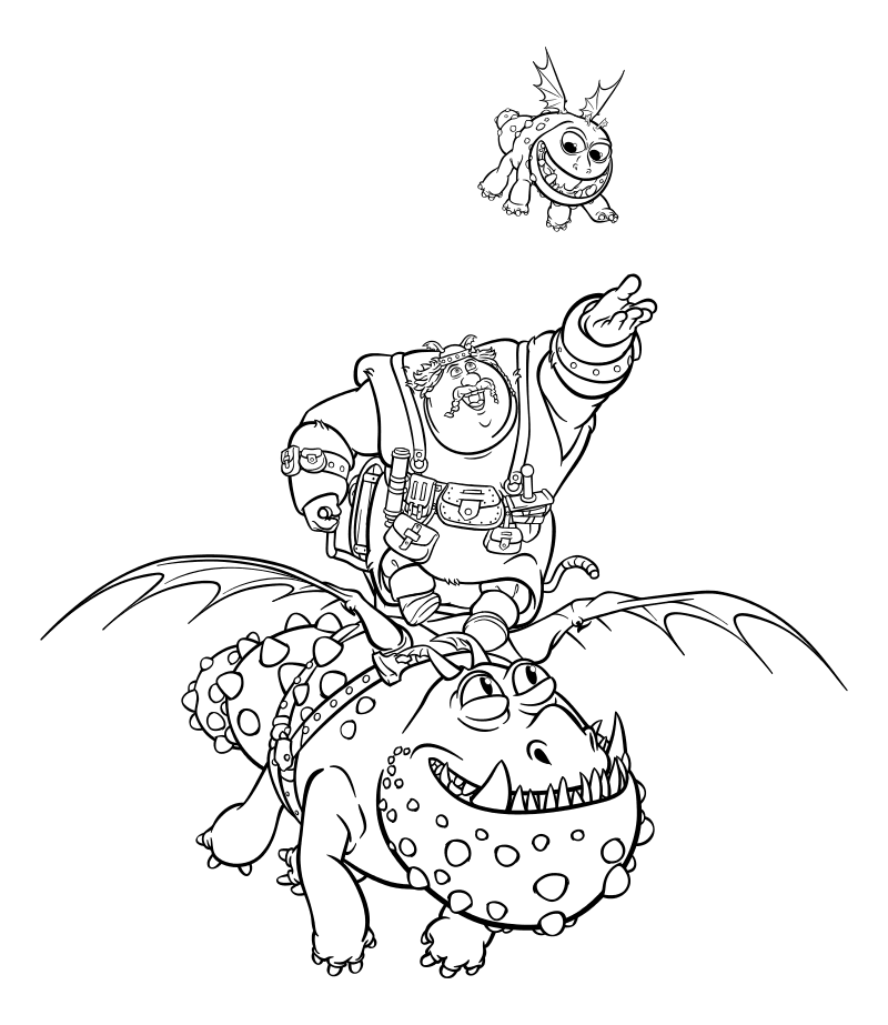 Раскраска - Как приручить дракона 3 - Рыбьеног летит на Сардельке