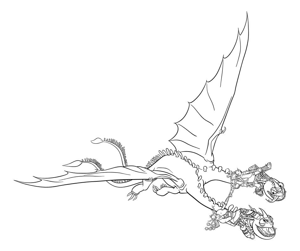 Раскраска - Как приручить дракона 3 - Забияка и Задирака летят на Пристеголове