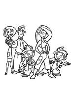 Раскраска - Ким Пять-с-плюсом - Ким Пять-с-плюсом с семьёй