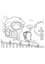 Раскраска - Кинг Дюклинг - Вомбат и дом
