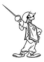 Раскраска - Клуб Микки Мауса - Гуфи - мушкетёр со шпагой