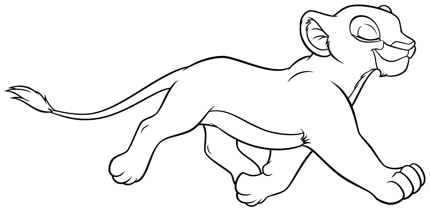 Раскраска - Король Лев - Маленькая Нала бежит | MirChild