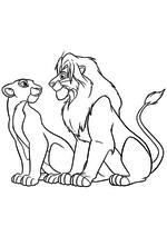 Раскраска Взрослые Нала и Симба