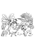 Раскраска - Король Лев - Пумба, Тимон и Львёнок Симба