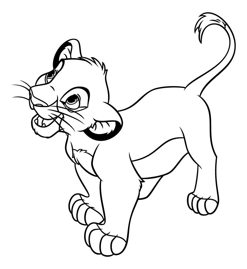 Раскраска - Король Лев - Львёнок Симба | MirChild