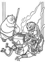 Раскраска - Кунг-фу панда 3 - По учит Неистовую Пятёрку