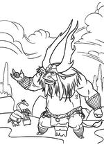 Раскраска - Кунг-фу панда 3 - Кай держит в руке Ци Угвэя