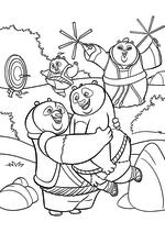 Раскраска - Кунг-фу панда 3 - Панды рады встрече с По