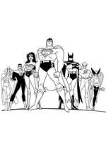 Раскраска - Лига Справедливости - Команда супергероев Лиги Справедливости