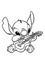 Раскраска - Лило и Стич - Стич играет на гитаре