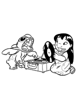 Раскраска - Лило и Стич - Лило и Стич слушают пластинку