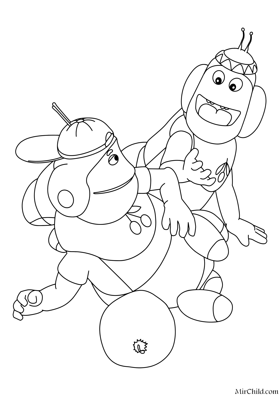 Раскраска - Лунтик и его друзья - Пупсень и Вупсень | MirChild