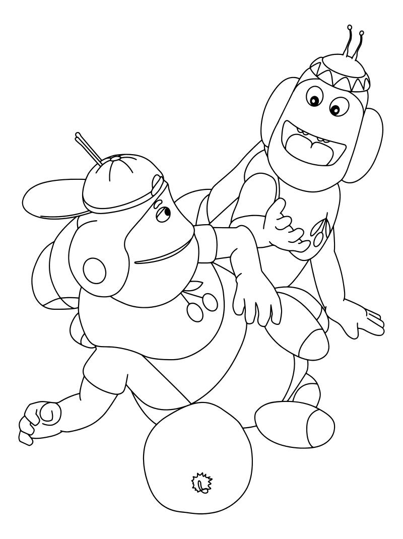 Раскраска - Лунтик и его друзья - Пупсень и Вупсень