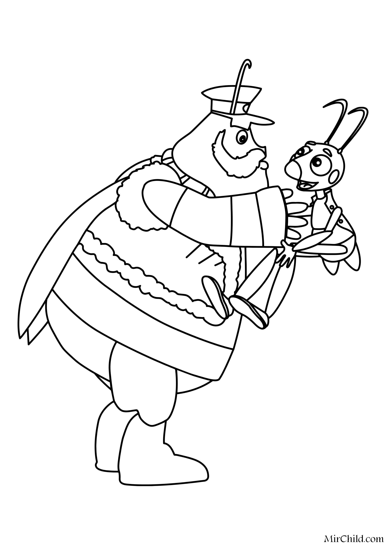 Раскраска - Лунтик и его друзья - Генерал Шер и Кузя ...
