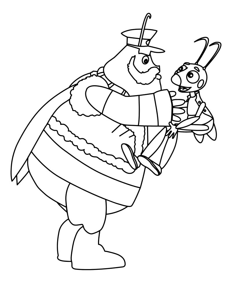 Раскраска - Лунтик и его друзья - Генерал Шер и Кузя