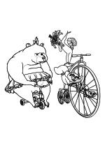 Раскраска - Мадагаскар - Медведица Соня и лемуры на велосипедах