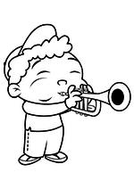 Раскраска Квинси играет на трубе