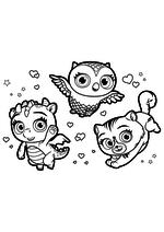 Раскраска - Маленькие волшебницы - Флэр, Требл и Сэвен
